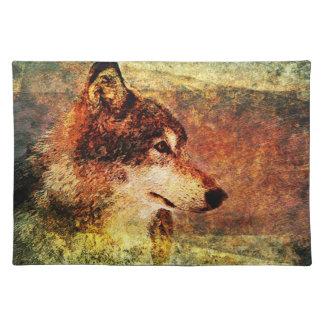 Estera de lugar rústica del lobo de madera mantel
