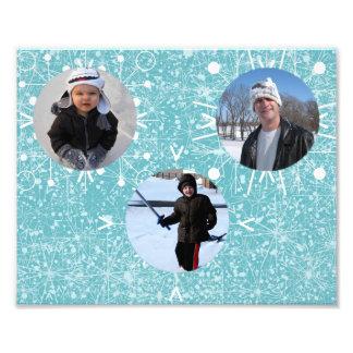 Estera de tres copos de nieve fotografías