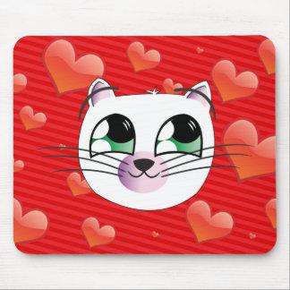 Estera del ratón del gato del amor mouse pad