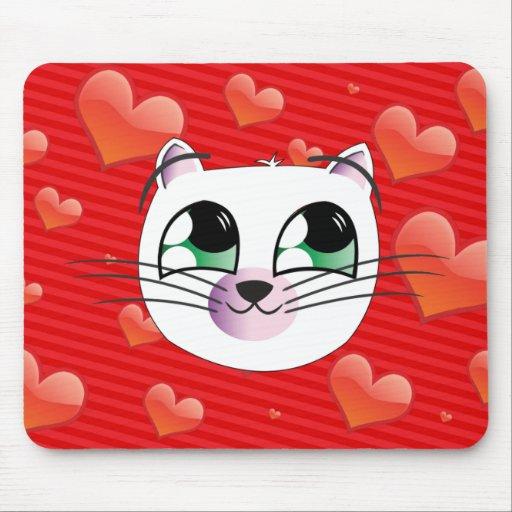 Estera del ratón del gato del amor alfombrillas de ratones