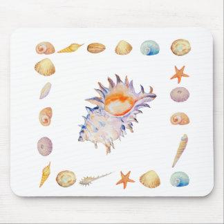 Estera del ratón del Seashell de la acuarela Alfombrilla De Ratón