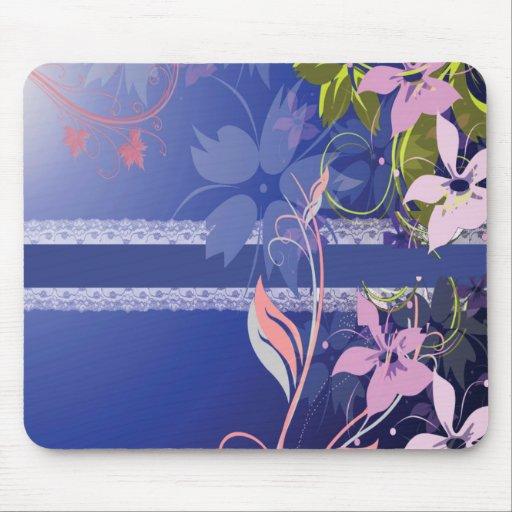 Estera floral azul del ratón del cordón alfombrillas de ratones