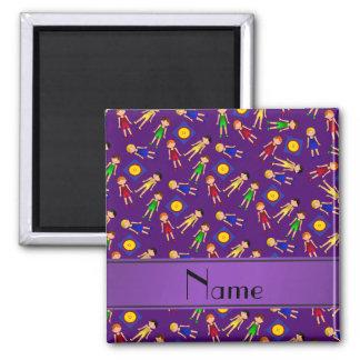 Estera linda púrpura conocida personalizada de los imán cuadrado