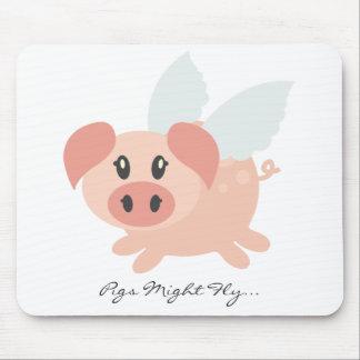 Estera personalizada del ratón del cerdo que vuela alfombrilla de ratones