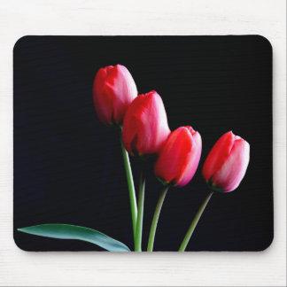 Estera roja del ratón de los tulipanes tapetes de ratón