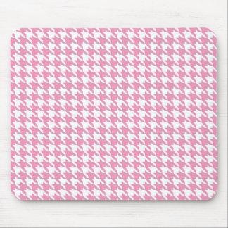 Estera rosada del ratón de Houndstooth Alfombrilla De Ratón