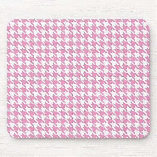 Estera rosada del ratón de Houndstooth Tapetes De Ratón