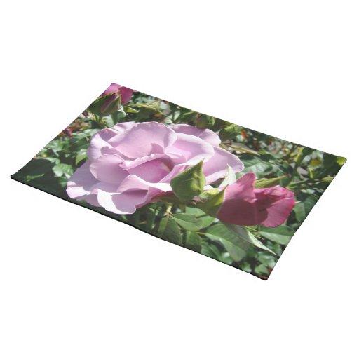 Esteras de lugar color de rosa púrpuras del jardín manteles individuales
