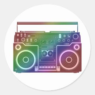 Estéreo del arco iris etiqueta redonda