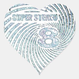 Estéreo estupendo 8 del vintage pegatina en forma de corazón