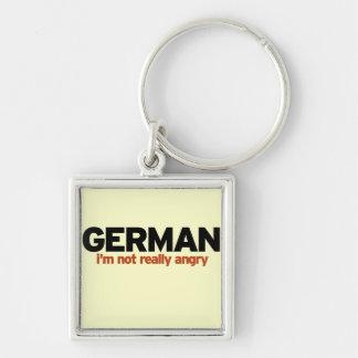 Estereotipo alemán llavero cuadrado plateado