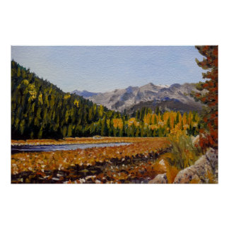 Estes Mountain Lake Oil Landscape Painting Print