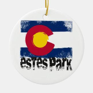 Estes Park Grunge Flag Ceramic Ornament