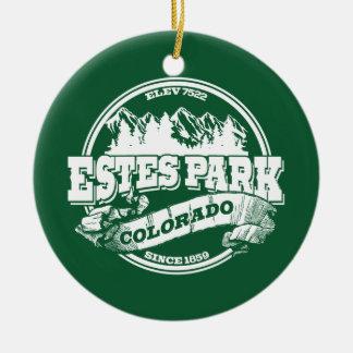 Estes Park Old Circle Green Ceramic Ornament