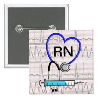 Estetoscopio del botón de la enfermera registradoa pin cuadrado