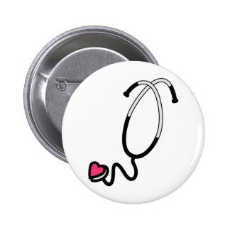 Estetoscopio del corazón pin redondo 5 cm