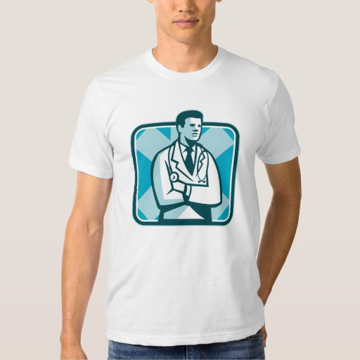 Estetoscopio del médico médico que coloca Retr Playeras
