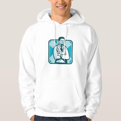 Estetoscopio del médico médico que coloca Retr Sudadera Encapuchada