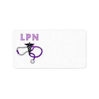 Estetoscopio del oficio de enfermera LPN Etiquetas De Dirección
