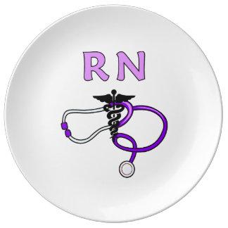 Estetoscopio del RN de las enfermeras Platos De Cerámica