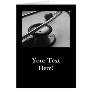 Estetoscopio médico, blanco y negro tarjeta pequeña