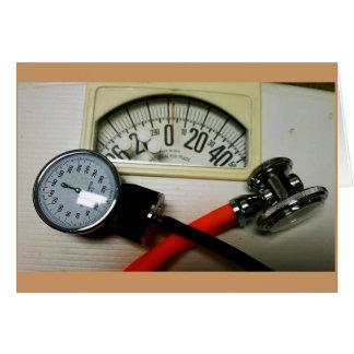 Estetoscopio y Sphygmomanometer Tarjeta Pequeña