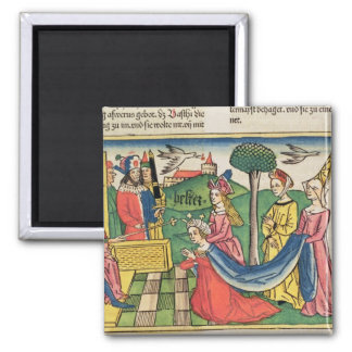Esther 2 15-18, Esther is chosen to be Queen by th 2 Inch Square Magnet