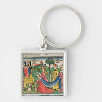 Esther 2 15-18, Esther is chosen to be Queen by th Silver-Colored Square Keychain