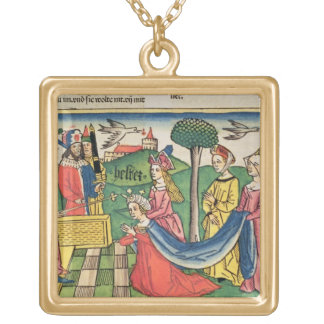 Esther 2 15-18, Esther is chosen to be Queen by th Square Pendant Necklace