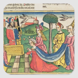 Esther 2 15-18, Esther is chosen to be Queen by th Square Sticker