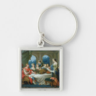 Esther and Ahasuerus, c.1775-80 Silver-Colored Square Keychain