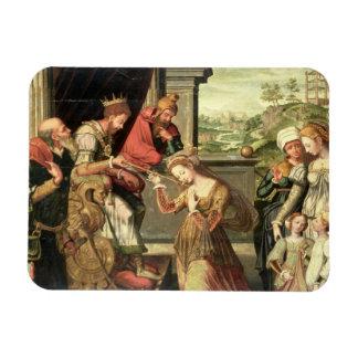 Esther ante rey Ahasuerus con Haman que es enviado Imanes De Vinilo