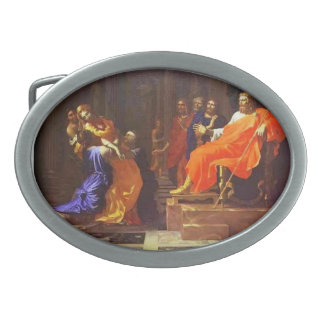 Esther before Ahasuerus by Nicolas Poussin Oval Belt Buckles