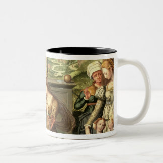 Esther before King Ahasuerus with Haman being sent Mugs
