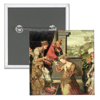 Esther before King Ahasuerus with Haman being sent Pinback Button