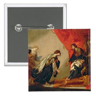 Esther in front of Ahasuerus, c.1645-50 (oil on ca Pinback Button