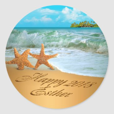 Beach Themed Esther Starfish Couple ASK 4 NAMES PUT IN SAND Classic Round Sticker