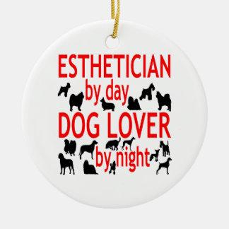 Esthetician del amante del perro en rojo adornos de navidad