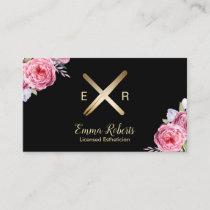 Esthetician Wax Stick & Twezzer Logo Pink Floral Business Card