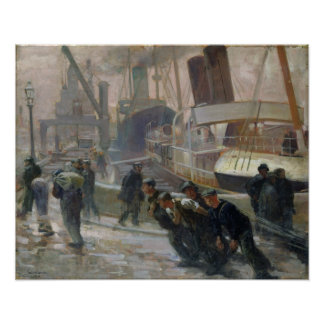Estibadores de Liverpool en Dawn, 1903 Póster