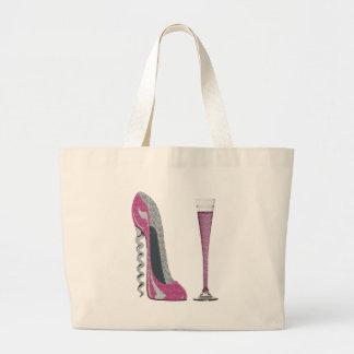 Estilete del sacacorchos y flauta de champán rosad bolsa tela grande