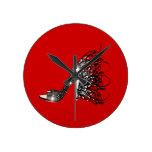 Estilete negro chispeante en rojo reloj