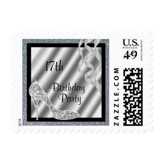 Estilete reluciente de plata y cumpleaños de las sello postal