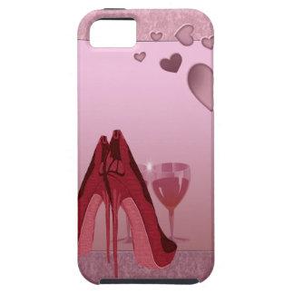 Estilete rojo y caja electrónica de los corazones iPhone 5 funda