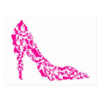 Estilete rosado con las diversas siluetas del postal