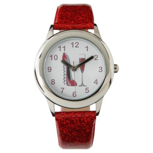 Estilete y reloj rojos de Champán