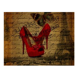 Estiletes del rojo del fashionista de la torre tarjeta postal