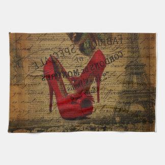 Estiletes del rojo del fashionista de la torre toalla de cocina