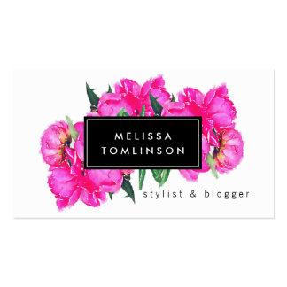 Estilista brillante de los Peonies II del rosa de Tarjetas De Visita
