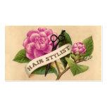estilista color de rosa retro del hairstylist de l plantilla de tarjeta de visita